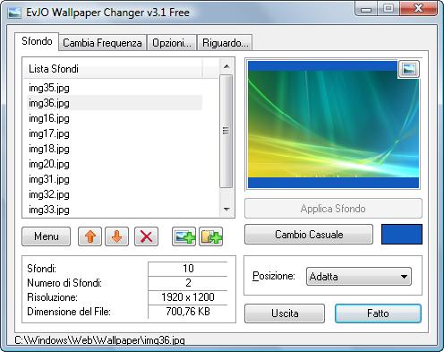 Cambiare sfondo jpg
